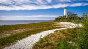 Картинка Штаты Берег Маяки Флорида Трава Песок Природа