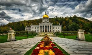 Фото Америка Дома Холм HDR Montpelier, Vermont, Vermont state Capitol город