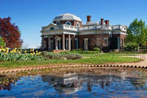 Фото Америка Здания Пруд Особняк Дизайн Monticello город