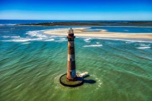 Картинки Америка Остров Океан Сверху Горизонт Старая Morris island, South Carolina
