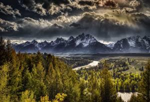 Фотографии США Горы Леса Пейзаж Облачно HDR Tetons, Wyoming, Grand Teton National Park Природа