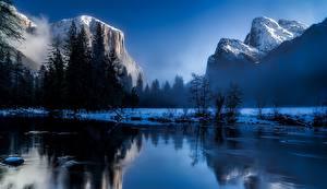 Фотографии Америка Парки Гора Пейзаж Йеллоустон Снег Скала Тумане Wyoming Природа