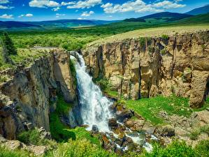 Картинка США Речка Водопады Пейзаж Утес Colorado Природа