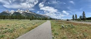 Фотографии США Дороги Горы Трава Grand Teton National Park, Wyoming Природа