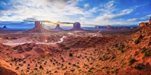 Фотографии Штаты Рассветы и закаты Пейзаж Скале Monument Valley, Utah Природа