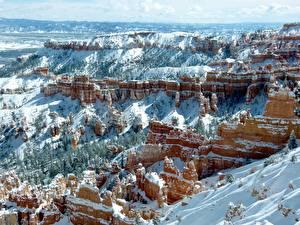 Фотография США Зимние Каньоны Утес Снегу Природа