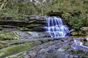 Обои Водопады Камни Мха Ручей Природа