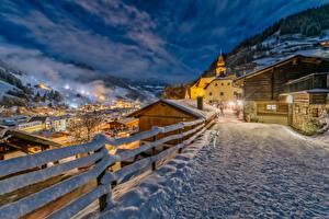 Фото Зимние Дороги Австрия Зальцбург Ночь Снег Забором Grossarl Города