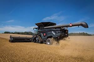 Обои Сельскохозяйственная техника Зерноуборочный комбайн Поля Massey Ferguson Ideal 9T Автомобили картинки