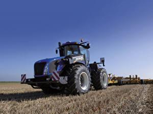 Обои Сельскохозяйственная техника Поля Трактор 2015-19 New Holland T9.565 Дети картинки