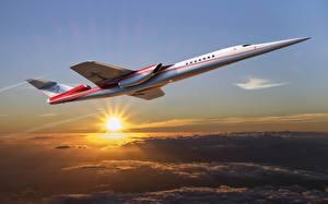 Фотографии Самолеты Боинг Солнце Летят concept Aerion AS2 supersonic business jet Авиация