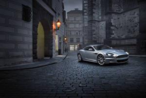 Обои Aston Martin Серебристый 2007-12 DBS автомобиль