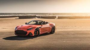 Обои Астон мартин Оранжевых Кабриолет 2019 DBS Superleggera Volante Worldwide машина