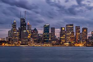 Фото Австралия Здания Вечер Небоскребы Сидней Заливы город