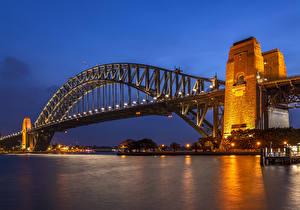 Картинка Австралия Реки Мосты Вечер Сидней Уличные фонари