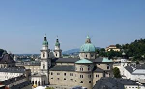 Фото Австрия Церковь Зальцбург Купол Salzburger Dom Города