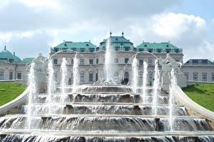Фотографии Австрия Вена Фонтаны Скульптуры Дворца Palace complex Belvedere город