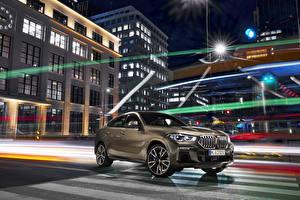 Картинки BMW Коричневые Кроссовер 2019 X6 M50i Worldwide авто