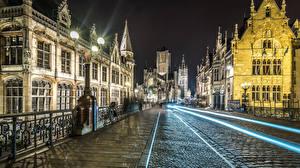 Фото Бельгия Здания Мосты Дороги Ночные Уличные фонари Gent Города