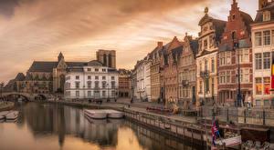 Картинки Бельгия Дома Пристань Вечер Водный канал Улица Gent Города