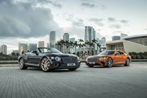 Картинки Bentley Кабриолет Двое Continental convertible GT V8 авто