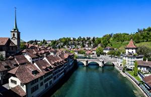 Картинка Берн Швейцария Мосты Речка Дома river Aare, Bern-Mittelland County