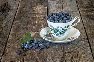 Обои Ягоды Черника Чашке Блюдце Доски Продукты питания