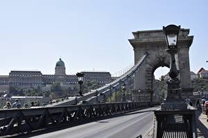 Фотография Будапешт Венгрия Мосты Дороги Уличные фонари Арки город
