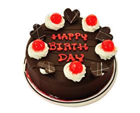 Обои для рабочего стола Торты Шоколад День рождения Белом фоне Дизайна Сердца Английская Еда