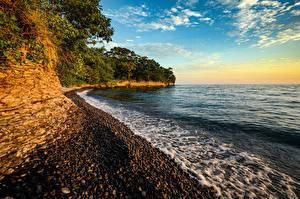 Фотография Канада Берег Волны Камни Скала Ontario Природа