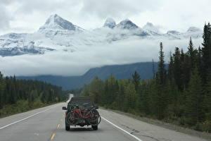 Картинки Канада Горы Леса Дороги Снег Облачно Велосипеды Вид сзади Rocky Mountains, Alberta