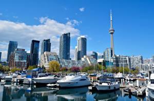 Обои Канада Небоскребы Пирсы Катера Торонто Башня Мегаполис province of Ontario, CN Tower город