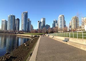 Фотография Канада Небоскребы Ванкувер Набережная Асфальт Тротуар город