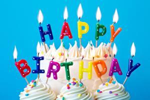 Картинки Свечи Огонь День рождения Торты Английский Слова Еда