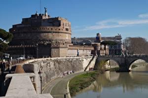 Картинка Замок Рим Италия Река Мосты Памятники Музей Castel Sant'angelo, Adriano Park, Tiber river Города