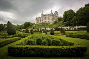 Обои Замки Шотландия Кусты Дизайн Sutherland Dunrobin Castle Города картинки