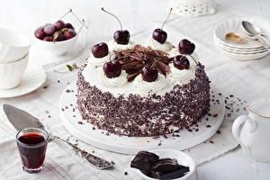 Фото Вишня Торты Шоколад Еда