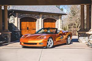 Фотография Chevrolet Тюнинг Оранжевая Кабриолета 2007 Corvette Convertible Indy 500 Pace Car Автомобили