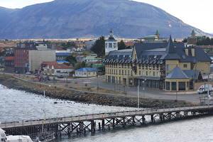 Картинки Чили Здания Реки Мосты Las Minas river, South America, Punta Arenas, province of Magallanes город