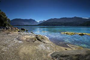 Фото Чили Реки Гора Берег Cisnes Patagonia Природа