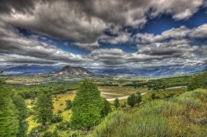 Фотографии Чили Пейзаж Горы Лес Луга Небо Облачно Траве HDRI Patagonia