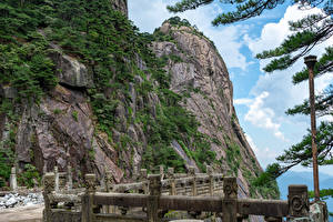 Фотография Китай Гора Скалы Забором Huangshan Mountains, Anhui Природа
