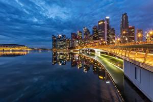 Обои Побережье Дома Вечер Сингапур Мосты Залив Города картинки