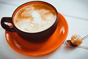Обои Кофе Капучино Чашка Блюдца Продукты питания