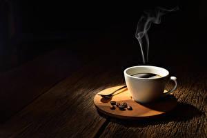 Картинка Кофе Доски Чашке Зерно Пар Пища