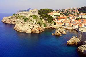 Фотографии Хорватия Побережье Море Замки Здания Дубровник Скале Dubrovnik-Neretva County город