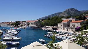 Картинки Хорватия Пристань Катера Дома Island Of Brac, town of Bol Города