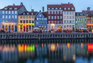 Фотография Дания Копенгаген Дома Вечер Водный канал Улица Кафе Набережная Города