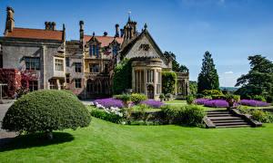Фотографии Англия Здания Особняк Дизайна Кустов Лестницы Газоне Tyntesfield Victorian Gothic revival house город