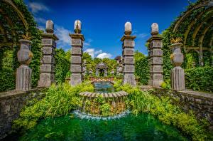 Картинки Англия Парк Фонтаны Водопады Дизайн Arundel Castle Gardens Природа
